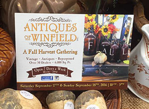 Postcard for Antiques of Winfield's Fall Harvest Gathering on table