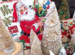 Santa and Christmas decorations for Antique of Winfield's Holiday Open House