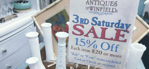 3rd Saturday sale sign and antiques